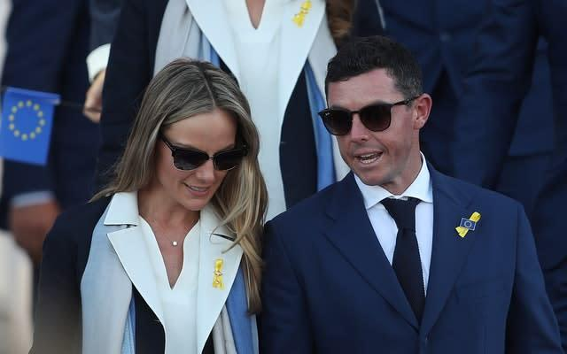 Rory McIlroy and wife Erica Stoll during the Ryder Cup opening ceremony in 2018 (David Davies/PA)