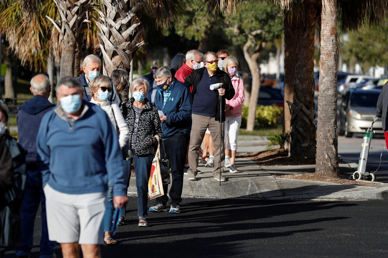 Pensioners wait to get vaccinated in Sarasota, Florida.