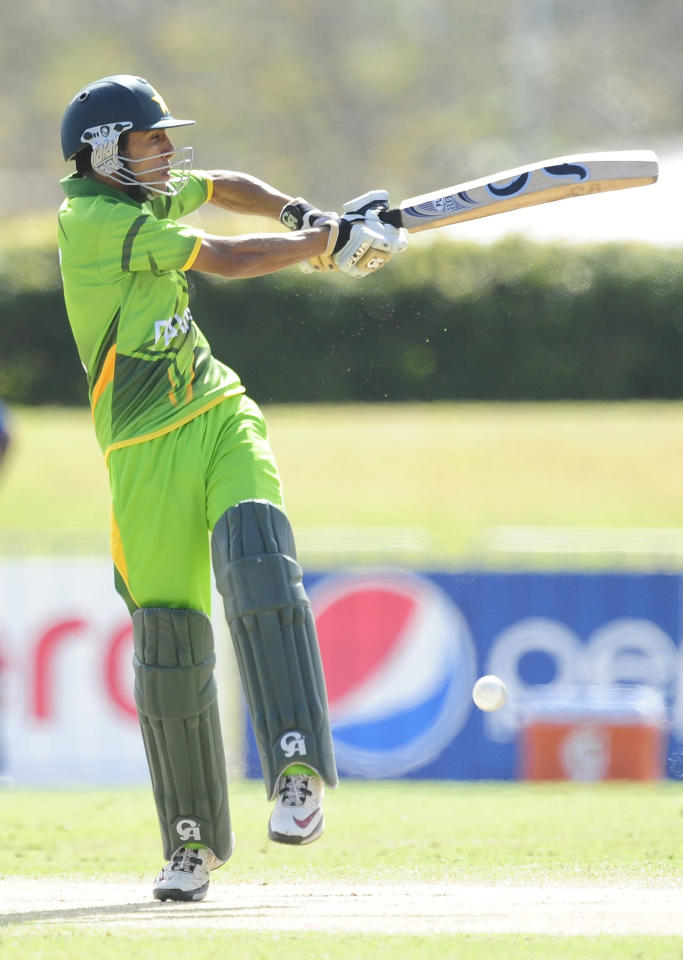 TOWNSVILLE, AUSTRALIA - AUGUST 20:  Umar Waheed of Pakistan bats during the ICC U19 Cricket World Cup 2012 Quarter Final match between India and Pakistan at Tony Ireland Stadium on August 20, 2012 in Townsville, Australia.  (Photo by Ian Hitchcock-ICC/Getty Images)