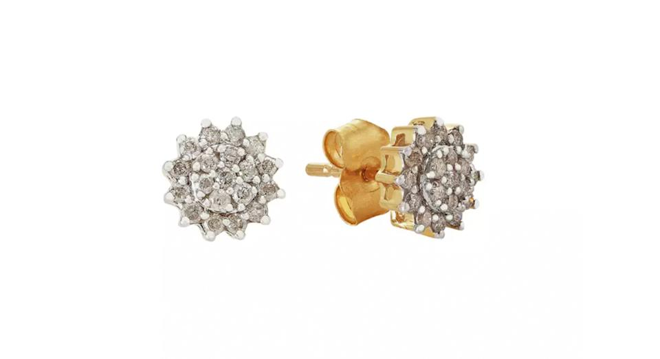 Revere 9ct Yellow Gold 0.25ct Diamond Cluster Stud Earrings