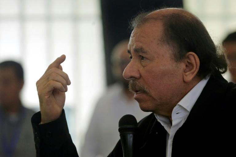 "Nicaraguan President Daniel Ortega speaks during the ""national dialogue"" aimed at quellin a month of anti-government unrest -- the worst he has faced in his past 11 years as president"