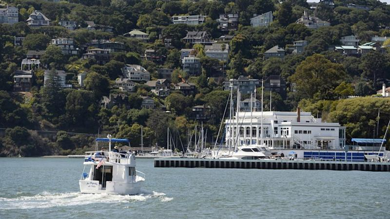 Picture of Corinthian Yacht Club and the water front homes in the area near Angel Bay, California.