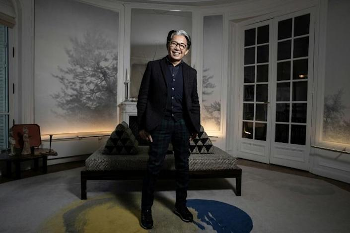 Japanese fashion designer Kenzo Takada, who has died in Paris aged 81, pictured in January 2019