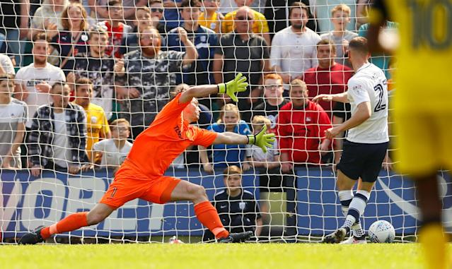 "Soccer Football - Championship - Preston North End vs Burton Albion - Deepdale, Preston, Britain - May 6, 2018 Preston North End's Louis Moult scores their second goal Action Images/Jason Cairnduff EDITORIAL USE ONLY. No use with unauthorized audio, video, data, fixture lists, club/league logos or ""live"" services. Online in-match use limited to 75 images, no video emulation. No use in betting, games or single club/league/player publications. Please contact your account representative for further details."