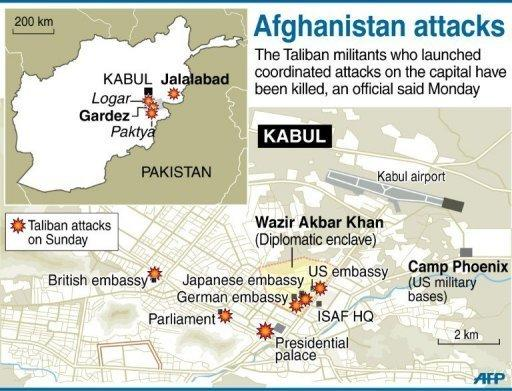 Map locating the coordinated attacks by Taliban in the Afghan capital and neighbouring areas on April 15. Afghan President Hamid Karzai has said the coordinated attacks by Taliban insurgents across Afghanistan showed intelligence failures, particularly on the part of NATO forces