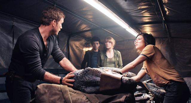 From left, Chris Pratt, Justice Smith, Bryce Dallas Howard, and Pineda in <em>Jurassic World: Fallen Kingdom</em>. (Photo: Universal Pictures/courtesy Everett Collection)