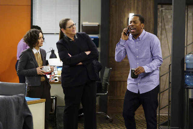 The supporting players of <em>Living Biblically</em>, left to right, Sara Gilbert as Cheryl, Camryn Manheim as Ms. Meadows, and Tony Rock as Vince (Photo: Sonja Flemming/CBS)