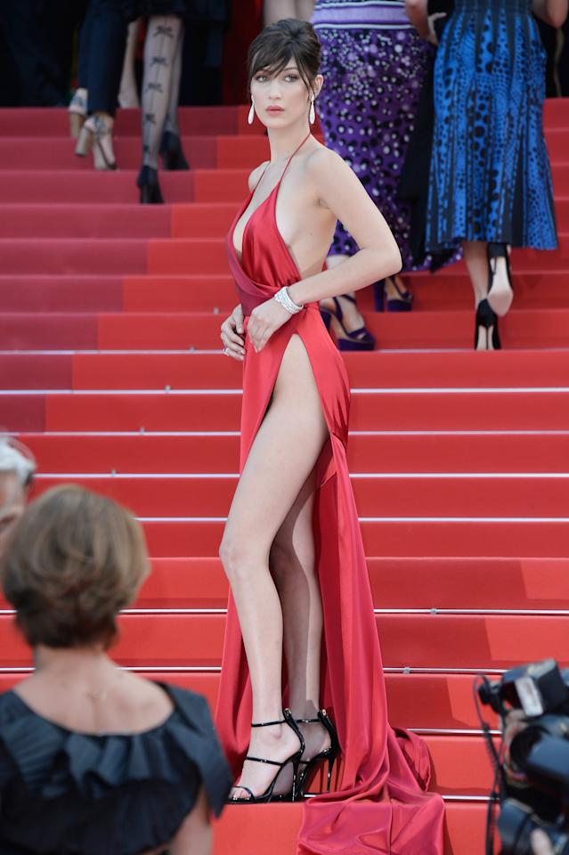 "<p><a href=""https://www.popsugar.com/fashion/Bella-Hadid-Alexandre-Vauthier-Dress-Cannes-2016-41414343"" >Bella's dress was complete with a built-in bodysuit</a>.</p>"