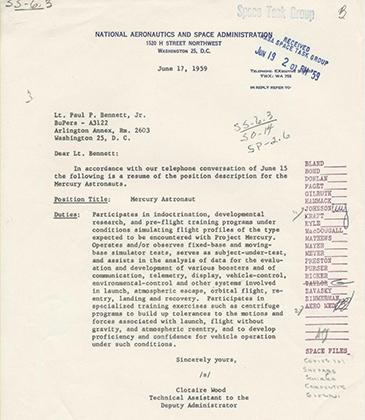 Position Description for Mercury Astronaut (National Archives)