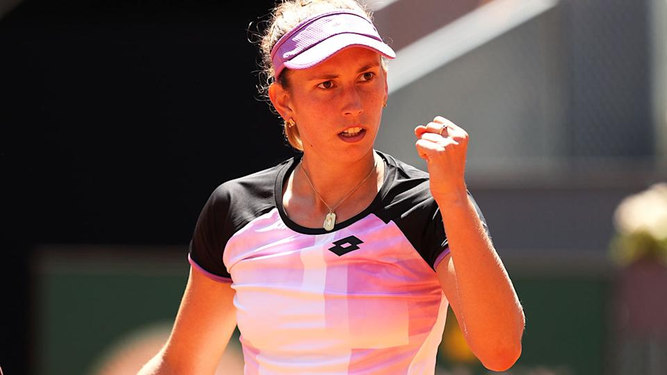 Elise Mertens, pictured here celebrating her victory over Simona Halep at the Madrid Open.