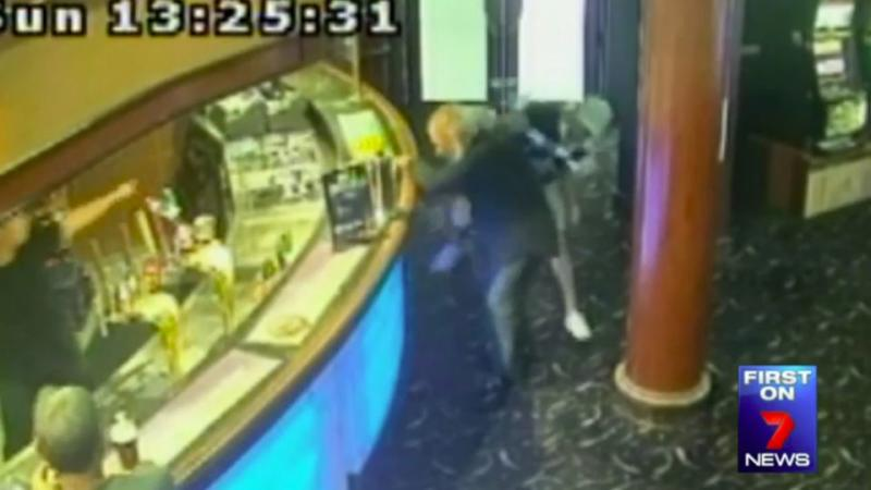 Hema approached an elderly gentleman in a Punchbowl pub, where he allegedly kicked him and threw objects at the innocent man. Photo: CCTV