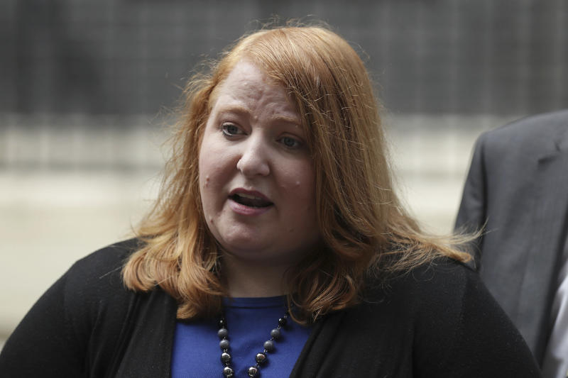 Leader of the Alliance Party of Northern Ireland Naomi Long speaks to the press after leaving following a meeting with Britain's Prime Minister Theresa May at 10 Downing Street in London, Thursday June 15, 2017. The Prime Minster is meeting with Northern Ireland's five main parties as talks continue between the Conservatives and the DUP about an agreement to support a minority Conservative government. (AP Photo/Tim Ireland)