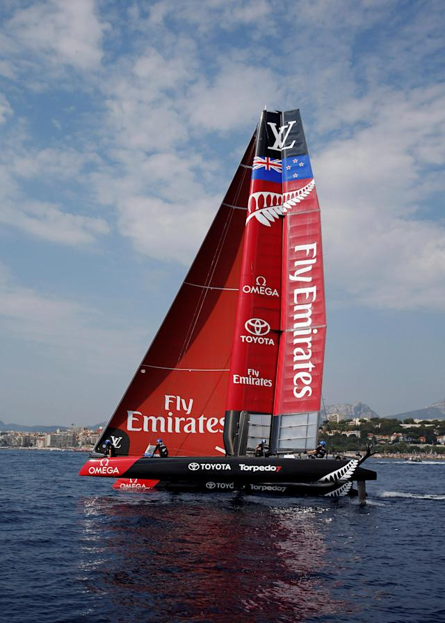 France Sailing - Louis Vuitton America's Cup World series - Toulon, France - 10/09/2016. Emirates Team New Zealand in action during Day One. REUTERS/Jean-Paul Pelissier