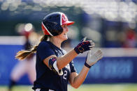 United States' Ali Aguilar reacts after hitting a two run single off of Mexico's Danielle O'Toole in the third inning of a softball game at the 2020 Summer Olympics, Saturday, July 24, 2021, in Yokohama, Japan. (AP Photo/Matt Slocum)