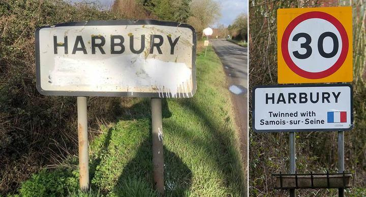 The sign was damaged on January 31 when the UK left the European Union (Picture: SWNS/Harbury News)