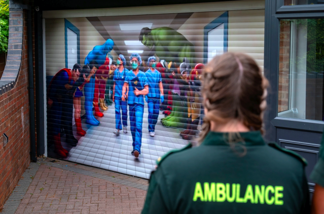 The NHS mural has been popular with passers-by. (SWNS)