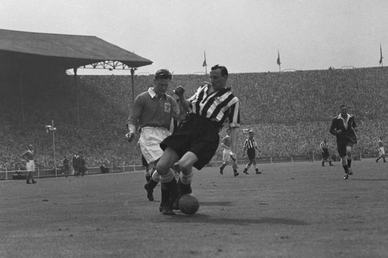 Slater (left) for Blackpool against Newcastle United in 1951; he was the last amateur player to appear in an FA Cup final (Getty)