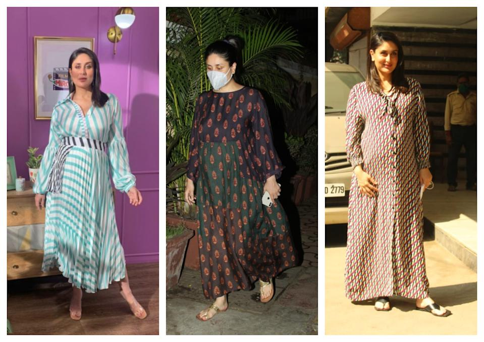 Flowy dresses and co-ord sets make up Kareena Kapoor's maternity wardrobe