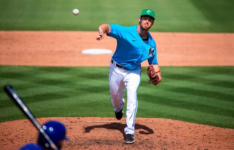 Miami Marlins pitcher Anthony Bender (80) pitches against the New York Mets during the ninth inning of their spring training baseball game at Roger Dean Chevrolet Stadium on Wednesday, March 17, 2021 in Jupiter, Florida.