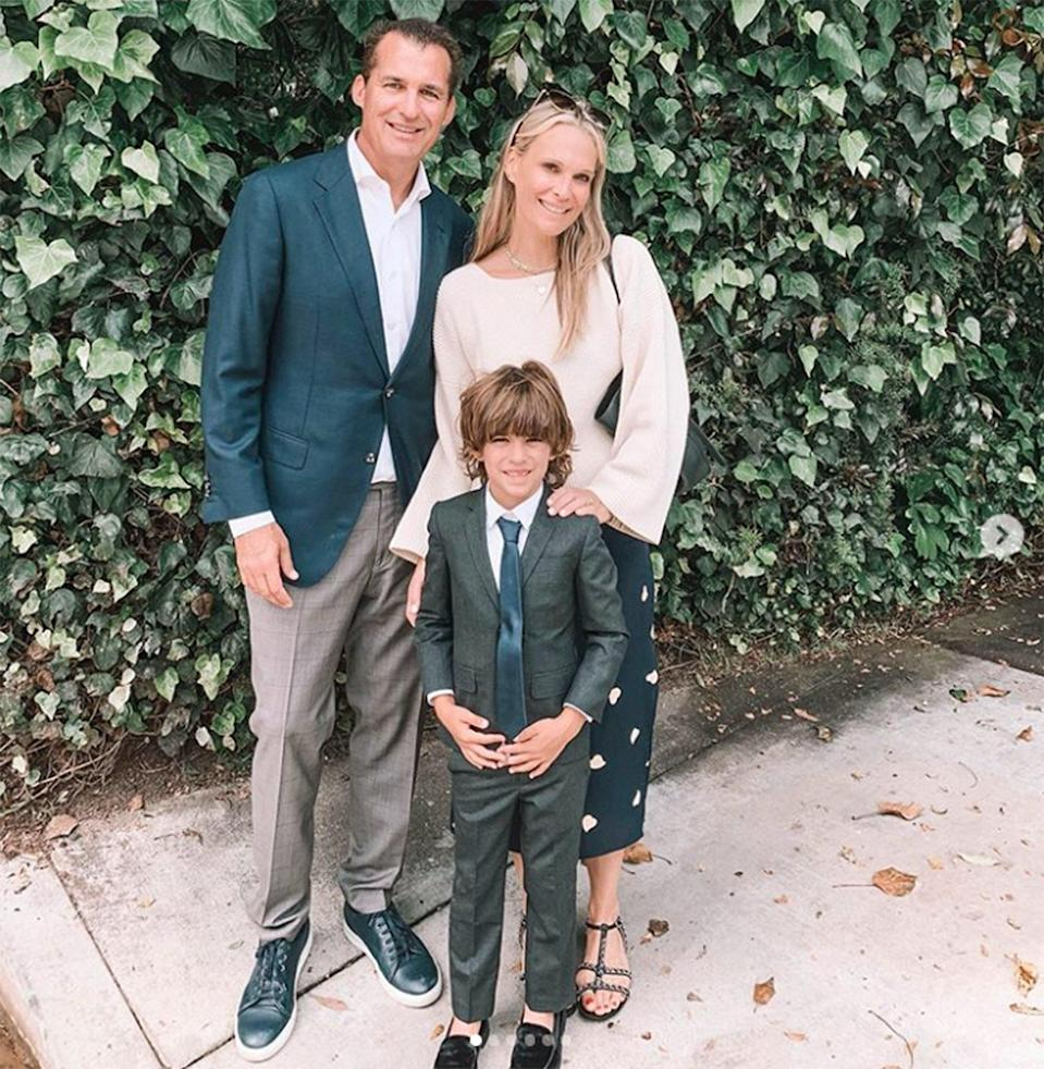 """""""In the blink of an eye, Kindergarten is over. 😩 I can't believe our little boy is going into first grade. 🎓,"""" actress and model Molly Sims began in her caption for an <a href=""""https://www.instagram.com/p/Bya_s9RJs_X/"""" rel=""""nofollow noopener"""" target=""""_blank"""" data-ylk=""""slk:Instagram slideshow"""" class=""""link rapid-noclick-resp"""">Instagram slideshow</a> she put together of moments from her son's kindergarten graduation day. """"To Ms. Morgan & Ms. Dunleavy — You made his year MAGICAL. 🌟 You're incredible human beings and spectacular, INSPIRING teachers. Thank you for giving my son the gift of learning & TRULY LOVING it. Huge thank you to his teachers, mentors and coaches who helped him get here,"""" Sims continued. """"And P.S. I feel like I graduated with him. #hitmehard.. #iamaMESS 😭😭😭,"""" she added."""