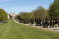 <p>The King's Troop on the Long Walk in Windsor ahead of the funeral of Prince Philip. (PA)</p>