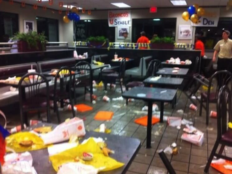 The remnants of an epic food fight between two sets of prep football fans in Texas — Twitter