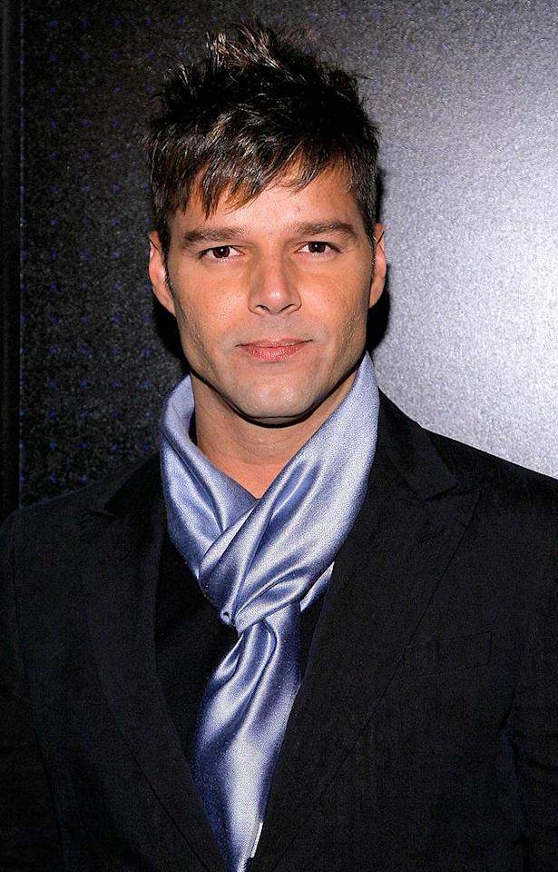 "Ricky Martin is still hot. His haircut and periwinkle scarf are not. Jemal Countess/<a href=""http://www.wireimage.com"" target=""new"">WireImage.com</a> - February 17, 2009"