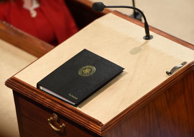 <p>A book containing the president's speech is seen before the State of the Union address at the Capitol in Washington, D.C., on Jan. 30. (Photo: Saul Loeb/AFP/Getty Images) </p>