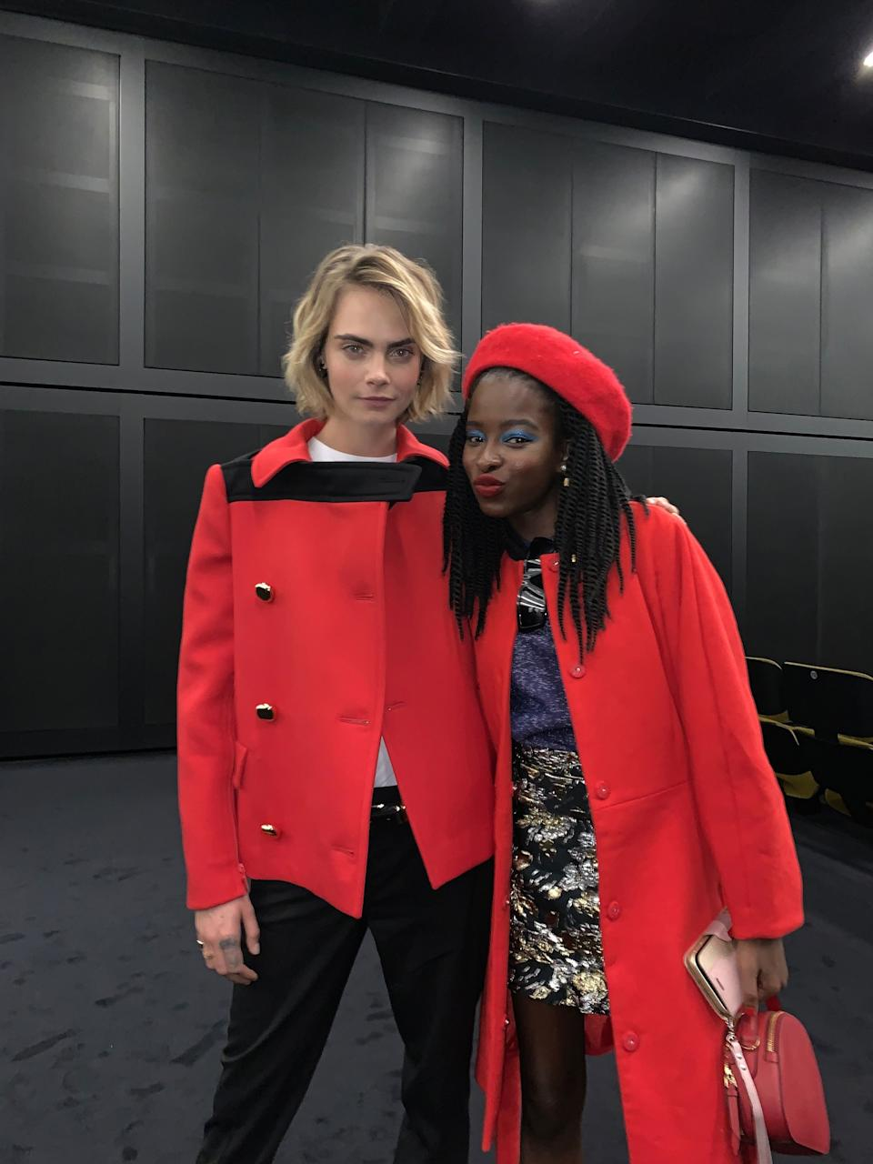 """Throwing shade with the lovely Cara Delevingne at the launch of the new film program, """"Soggettiva Nicolas Winding Refn,"""" at Fondazione Prada Cinema."""