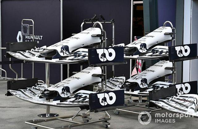 """Spare AlphaTauri noses and front wings <span class=""""copyright"""">Mark Sutton / Motorsport Images</span>"""