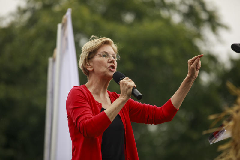 WATER WORKS PARK, DES MOINES, IOWA, UNITED STATES - 2019/09/21: Candidate for the Democratic nomination for President of the United States Elizabeth Warren speaks during the Polk County Steak Fry at the Water Works Park in Des Moines, Iowa. The event drew in 17 candidates for the democratic nomination for president of the United States. The Iowa Caucasus are Monday, February 3, 2020 and although not a primary will narrow down the field of candidates for president before the first primary election in the state of New Hampshire. (Photo by Jeremy Hogan/SOPA Images/LightRocket via Getty Images)
