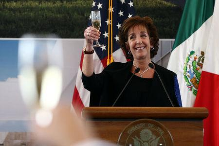 U.S. Ambassador to Mexico Roberta S. Jacobson raises her glass in a toast as she attends a ceremony to place the first stone of the new U.S. Embassy in Mexico City, Mexico February 13, 2018. REUTERS/Edgard Garrido