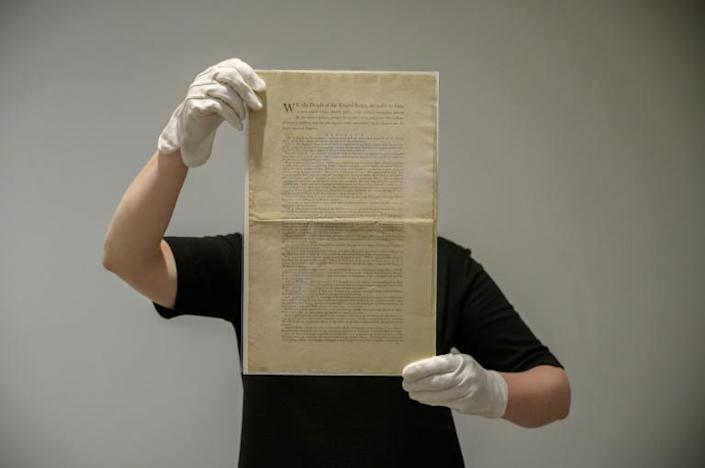 One of only 11 known surviving copies of the American constitution will be sold in New York in November (AFP/Ed JONES)