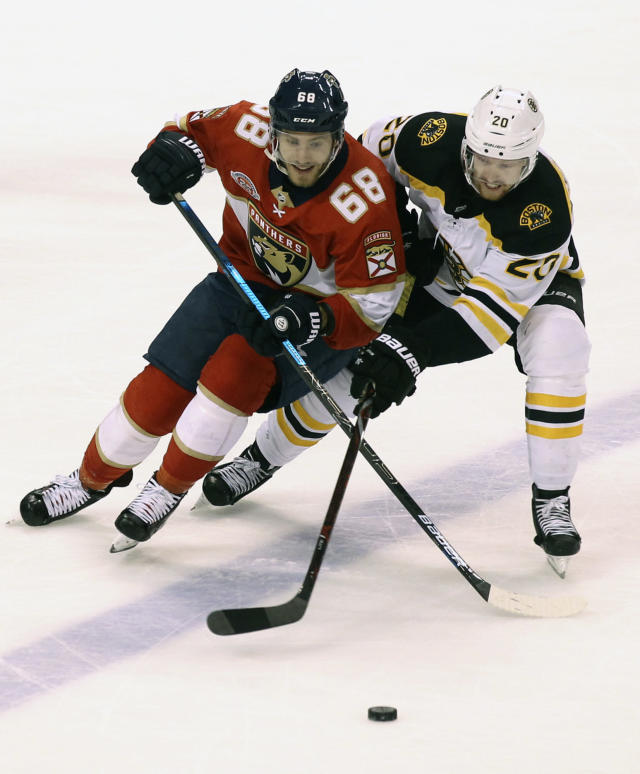 Florida Panthers' Mike Hoffman (68) and Boston Bruins' Joakim Nordstrom (20) battle for the puck during the third period of an NHL hockey game, Saturday, March 23, 2019, in Sunrise, Fla. The Bruins won 7-3. (AP Photo/Luis M. Alvarez)
