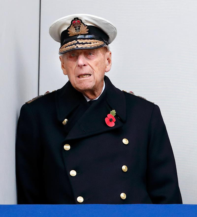 LONDON, UNITED KINGDOM - NOVEMBER 12: (EMBARGOED FOR PUBLICATION IN UK NEWSPAPERS UNTIL 48 HOURS AFTER CREATE DATE AND TIME) Prince Philip, Duke of Edinburgh attends the annual Remembrance Sunday Service at The Cenotaph on November 12, 2017 in London, England. This year marks the first time that Queen Elizabeth II watched the service from a balcony rather than lay her own wreath, instead Prince Charles, Prince of Wales laid her wreath on her behalf. (Photo by Max Mumby/Indigo/Getty Images)