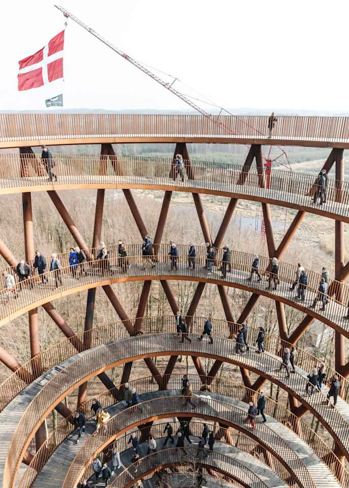<p>The 45m hourglass-shaped tower is the first of its kind in Scandinavia [Picture: SWNS] </p>