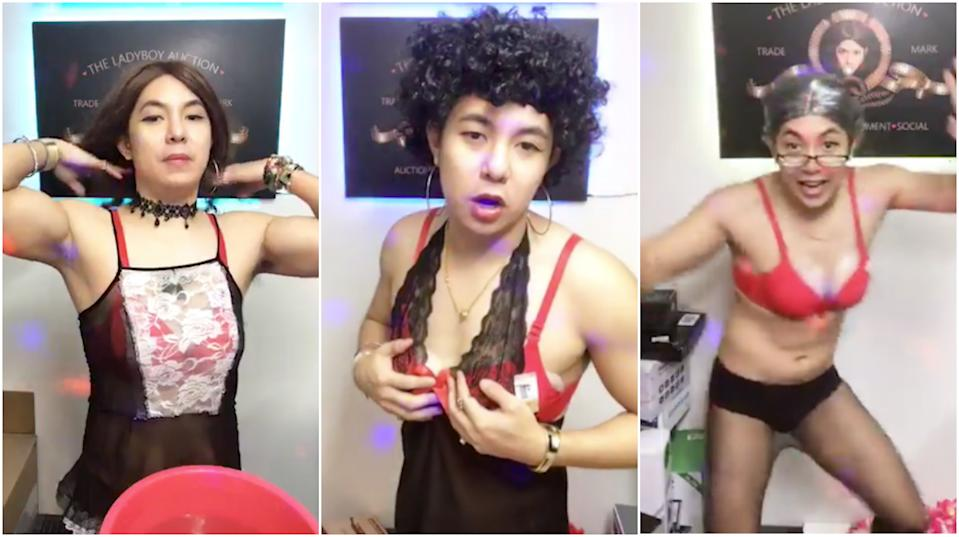 Daniel Lee cross-dresses while conducting livestream auctions on his Facebook page Ladyboy Auction, to entertain his viewers.