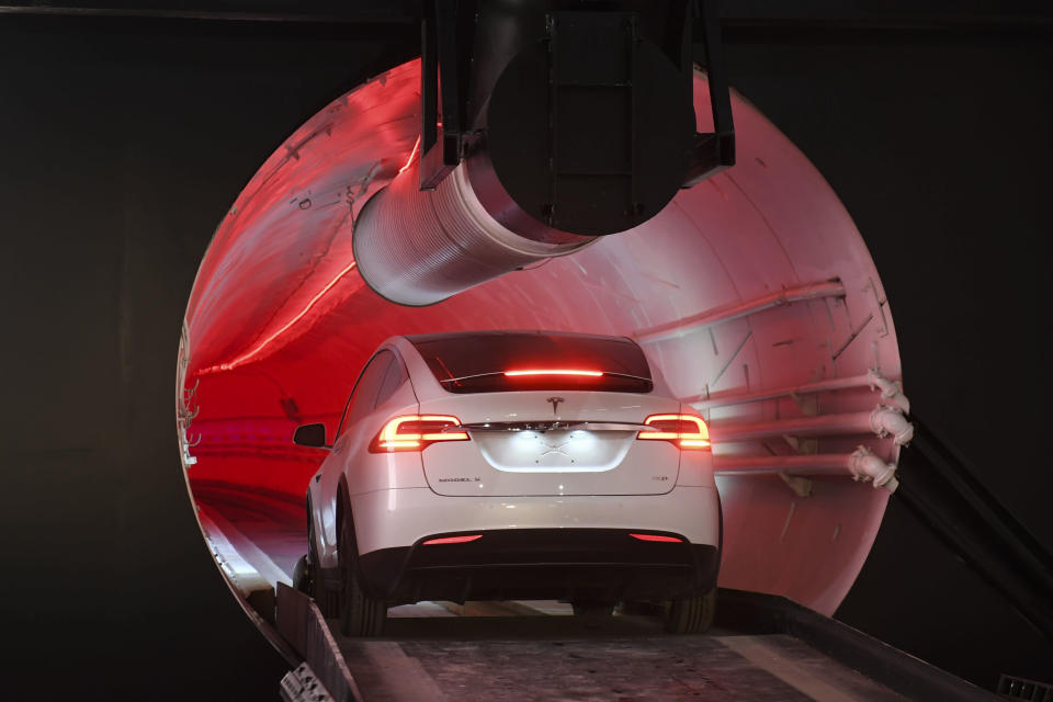 A Tesla enters the tunnel for a test run.