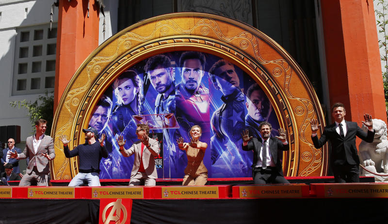 "LOS ANGELES, April 24, 2019 -- Actors Chris Hemsworth, Chris Evans, Robert Downey Jr., actress Scarlett Johansson, actors Mark Ruffalo, Jeremy Renner From L to R attend their print ceremony in the forecourt of the TCL Chinese Theater in Los Angeles, the United States, April 23, 2019. The cast of Marvel Studios ""Avengers: Endgame"" including Robert Downey Jr., Chris Evans, Mark Ruffalo, Chris Hemsworth, Scarlett Johansson, and Jeremy Renner, along with Marvel Studios President Kevin Feige, received one of Hollywood's oldest accolades this Tuesday, to sign their names and put their handprints in cement at the TCL Chinese Theater IMAX in Hollywood. (Xinhua/Li Ying) (Xinhua/ via Getty Images)"