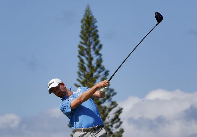 Webb Simpson plays his shot from the third tee during the second round of the Tournament of Champions golf event Friday, Jan. 4, 2019, at Kapalua Plantation Course in Kapalua, Hawaii. (AP Photo/Matt York)