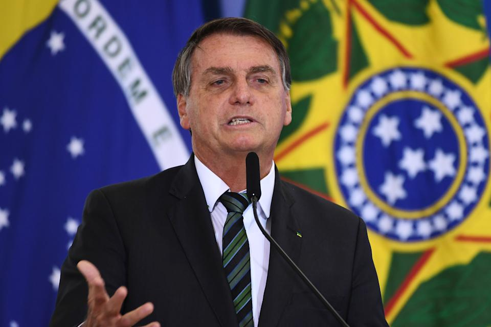 Brazilian President Jair Bolsonaro speaks during the Launch of the