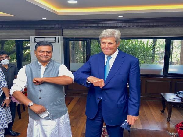 United States Special Presidential Envoy for Climate John Kerry meets Union Power Minister RK Singh in Delhi.