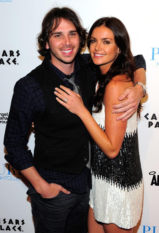 "LAS VEGAS, NV - APRIL 28:  Televison personalities Ben Flajnik (L) and Courtney Robertson (R) from show ""The Bachelor"" arrive to host a night at the Prue Nightclub at Caesars Palace on April 28, 2012 in Las Vegas, Nevada.  (Photo by Steven Lawton/FilmMagic)"