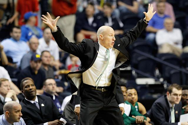 NASHVILLE, TN - MARCH 16: Head coach John Groce of the Ohio Bobcats shouts to his players against the Michigan Wolverines during the second round of the 2012 NCAA Men's Basketball Tournament at Bridgestone Arena on March 16, 2012 in Nashville, Tennessee. (Photo by Kevin C. Cox/Getty Images)