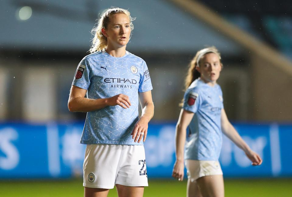 Sam Mewis (front) and Rose Lavelle are in their first season with Manchester City's women's team. (Photo by Matt McNulty - Manchester City/Manchester City FC via Getty Images)