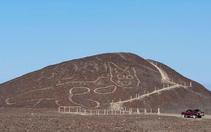 Peruvian archaeologists carrying out maintenance work in the Nazca Lines geoglyphs site discovered the figure of a feline - Jhony Islas/Peru's Ministry of Culture - Nasca-Palpa via AP
