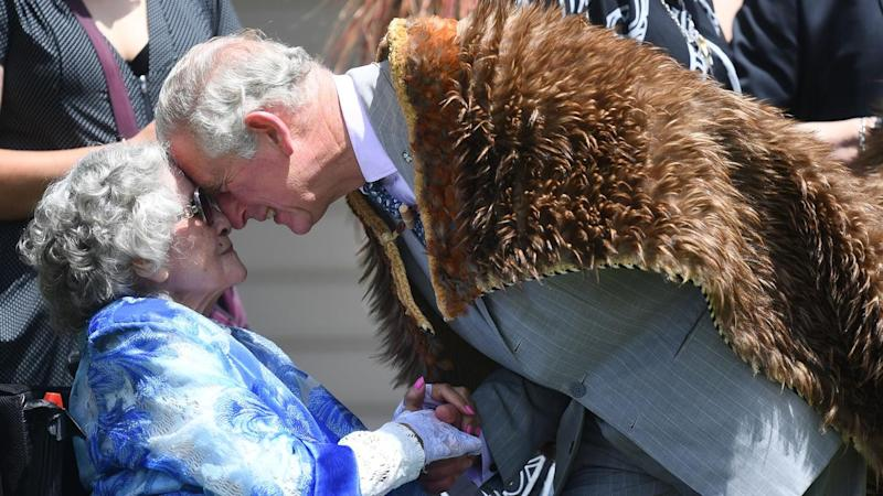 Prince Charles shares a traditional Maori greeting during a visit to Waitangi, New Zealand