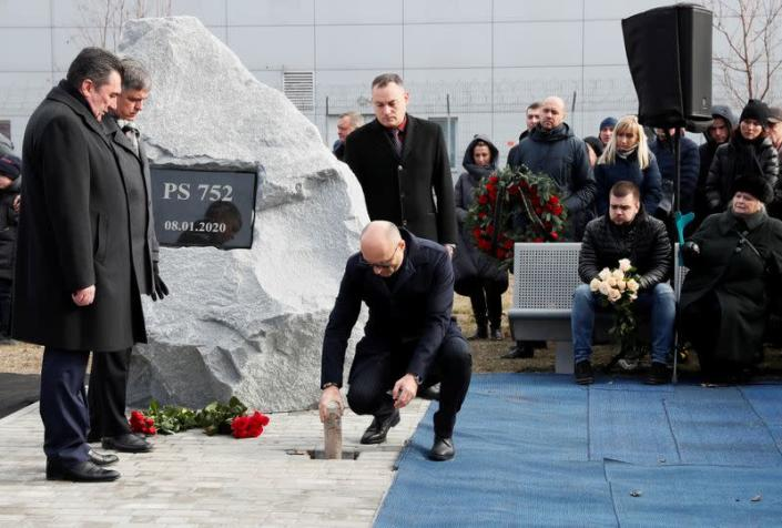 FILE PHOTO: Foundation stone laying ceremony for a future memorial site to the people killed in a plane shot down in Iran, at the Boryspil Airport outside Kiev