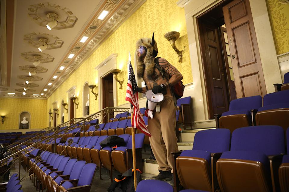 A protester inside the Senate chamber