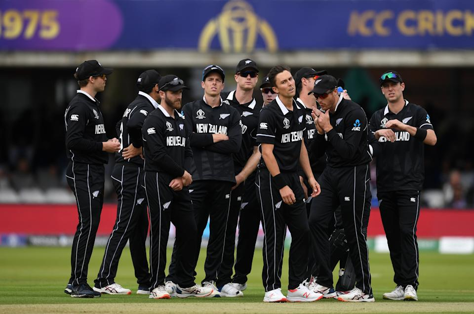 The New Zealand side react as Jason Roy survives the subsequent review. (Photo by Gareth Copley-IDI/IDI via Getty Images)